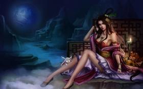 Обои девушка, цветы, горы, свеча, арт, зверек