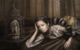Обои взгляд, девушка, задумчивость, кровать, рука, клетка, арт