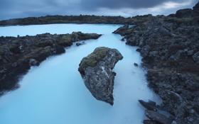 Обои море, ночь, скалы, Исландия, фиорд
