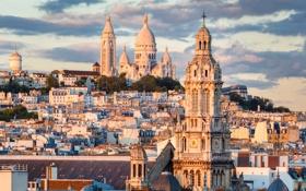 Картинка облака, Montmartre, дворец, храм, дома, Париж, Франция