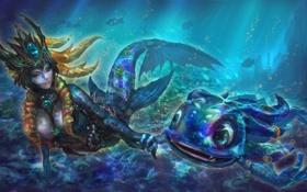 Картинка океан, под водой, League of Legends, Nami, Fizz, Tidecaller, Tidal Trickster