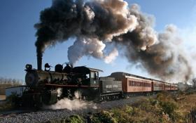 Картинка поезд, вагоны, дым из трубы
