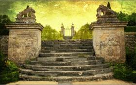 Обои парк, рендеринг, Франция, ворота, лестница, скульптуры, château de Canon