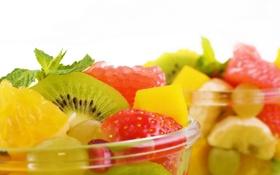 Картинка апельсин, киви, клубника, виноград, фрукты, ананас, банан