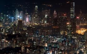 Картинка ночь, город, Hong Kong