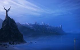 Обои море, город, скалы, берег, лодка, ангел, арт