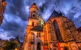 Картинка небо, облака, ночь, огни, улица, дома, Германия
