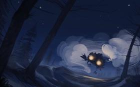 Обои лес, ночь, сказка, пыль, арт, жилище, избушка на курьих ножках