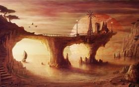 Картинка озеро, дом, корабль, планета, парусник, арт, мельница