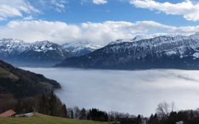 Обои облака, горы, Природа