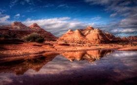 Картинка небо, природа, озеро, отражение, скалы, холмы, узоры