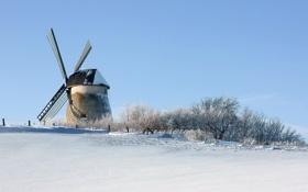 Картинка зима, поле, снег, мельница