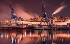 Картинка ночь, город, пристань, Bilbao