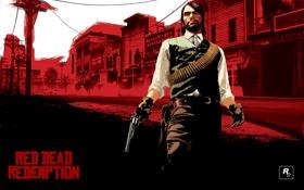 Обои rockstar, с револьвером, red dead redemption, мужик, Игры, game