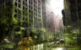 Обои город, улица, апокалипсис, здание, арт, автобус
