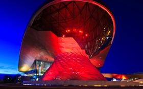 Обои ангаров, ночь, комплекс состоящий из штаб-квартиры, мир BMW, Мюнхен, Германия, многофункциональный клиент опыт и выставочный ...