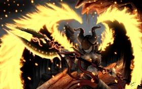 Обои девушка, оружие, огонь, крылья, символы, арт, рога