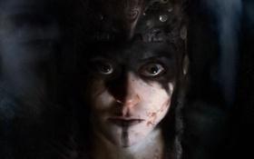 Обои глаза, девушка, страх, испуг, кровь, нос, губы