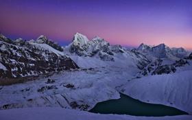 Обои зима, снег, горы, природа, озеро