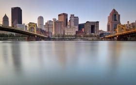 Картинка город, дома, мосты, Pittsburgh