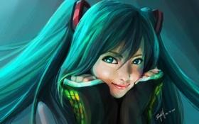 Картинка девушка, лицо, руки, арт, vocaloid, hatsune miku