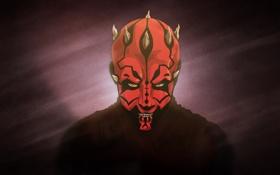 Обои красный, Star Wars, рога, Darth Maul, Звёздные войны, ситх, Дарт Мол