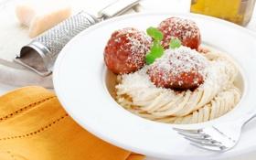 Обои мясо, макароны, meat, pasta, тефтели