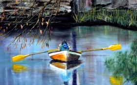 Обои лодка, озеро, картина