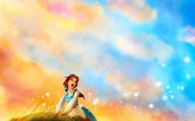Обои небо, трава, девушка, рыжеволосая, поёт