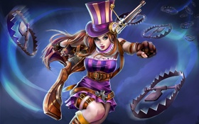 Обои девушка, league of legends, Caitlyn, капканы