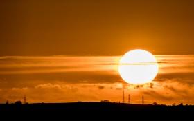 Картинка небо, солнце, закат, горизонт, опора