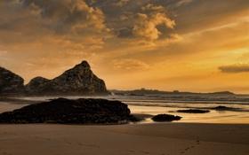 Картинка песок, море, волны, пляж, небо, вода, облака