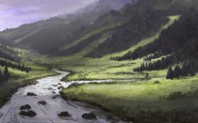 Картинка лес, деревья, река, холмы, долина, арт