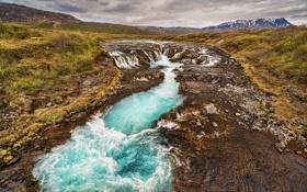 Картинка трава, горы, река, поток, Исландия
