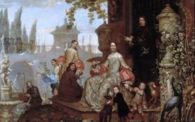Обои картина, жанровая, Ян ван Кессель младший, Семья в Саду