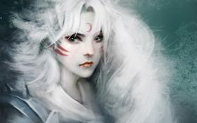 Картинка девушка, месяц, арт, белые волосы, sesshomaru, inuyasha, crazy cat