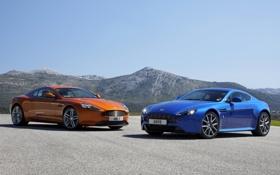 Картинка небо, горы, оранжевый, синий, Aston Martin, Vantage, Вираж