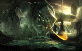 Обои море, монстр, герой, битва, god of war