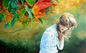 Обои трава, листья, девушка, ветер, крылья, локоны, ящерка