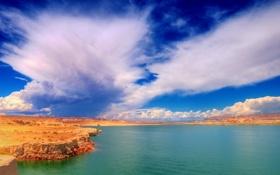 Обои озеро, берег, пустыня, каньон, Юта, Америка