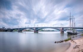Картинка мост, пролив, корабль, Germany, Wiesbaden