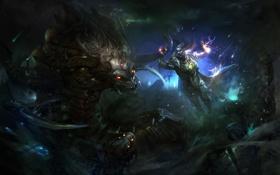 Картинка магия, монстр, воин, арт, битва