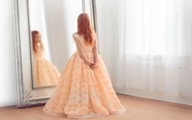 Картинка комната, зеркало, девочка