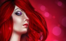 Обои глаза, губы, девушка, макияж, лицо, красные волосы, ресницы
