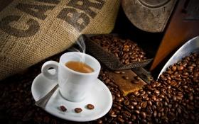 Обои пена, кофе, кружка, напиток, блюдце, зёрна, дымок