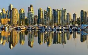 Обои вода, city, город, отражение, берег, яхты, лодки