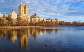 Картинка небо, пейзаж, пруд, дома, Нью-Йорк, США, центральный парк