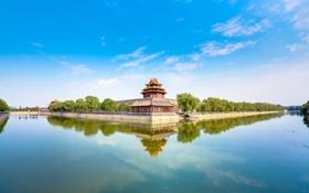 Обои река, здание, Китай, архитектура
