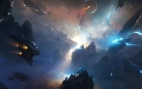 Картинка звезды, полет, осколки, планеты, корабли, вспышка, Космос
