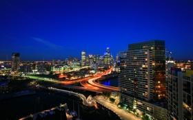 Обои ночь, огни, улица, небоскреб, дома, развязка, панорама